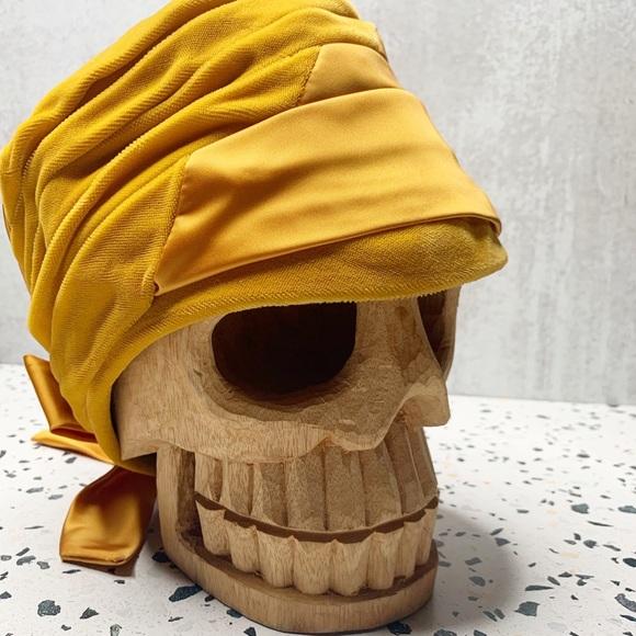 Vintage Accessories - Vintage gold yellow Velvet Satin bow turban B0977